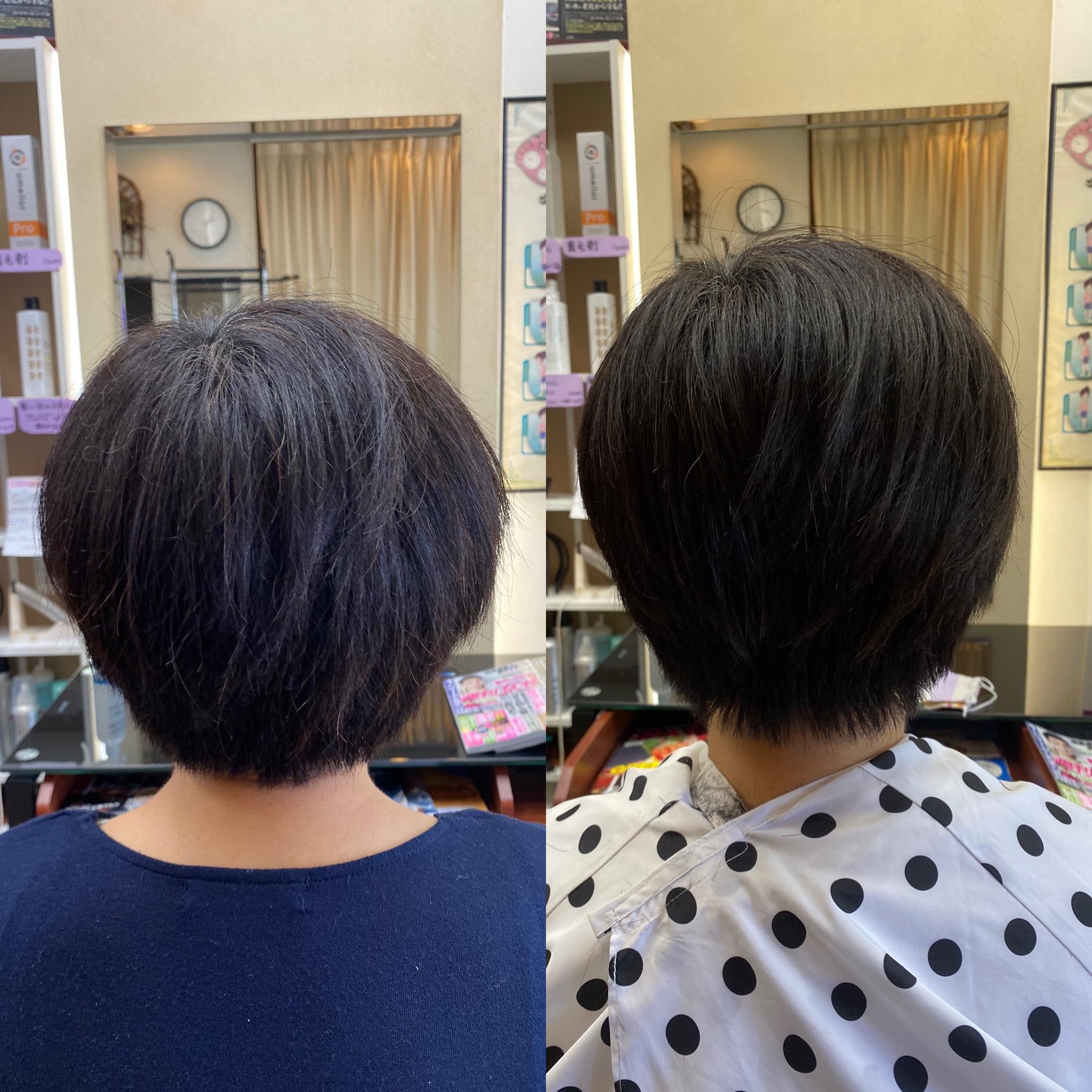 横に広がる髪、すきバサミを使わず毛量調整