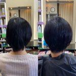 左右の頭の形が違うから、同じ長さには切れないのです